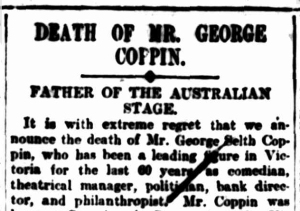 Obituary of George Coppin
