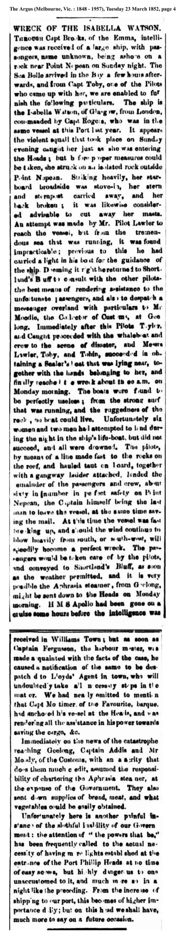 news - Isabella Watson 1852