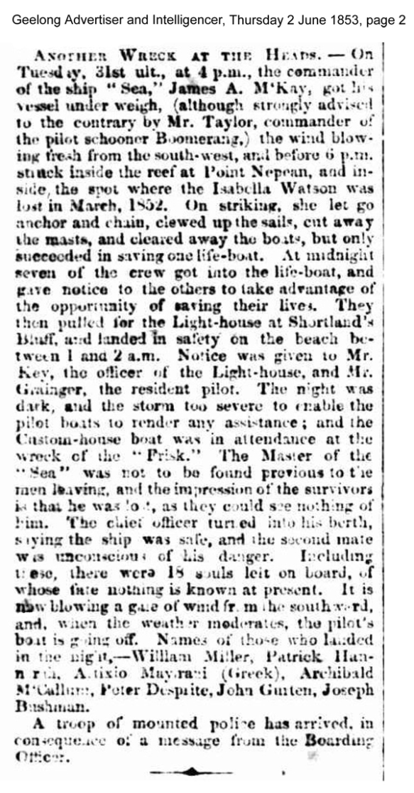 news - Sea geelong advertiser and Intelligencer (Vic. : 1851 - 1856), Thurs