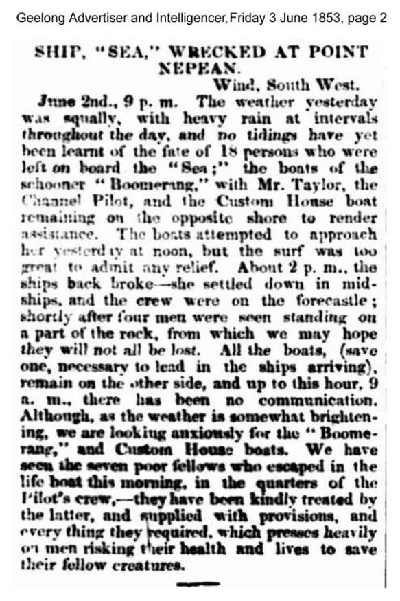 news - Sea 1853 Geelong Advertiser and Intelligencer (Vic. : 1851 - 1856), Frida