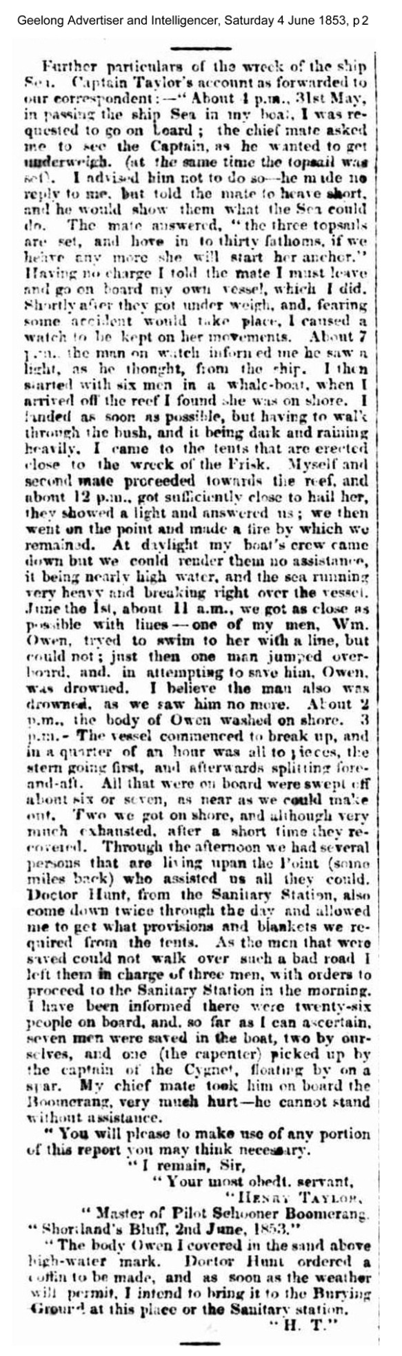news - Sea 1853 geelong advertiser and Intelligencer