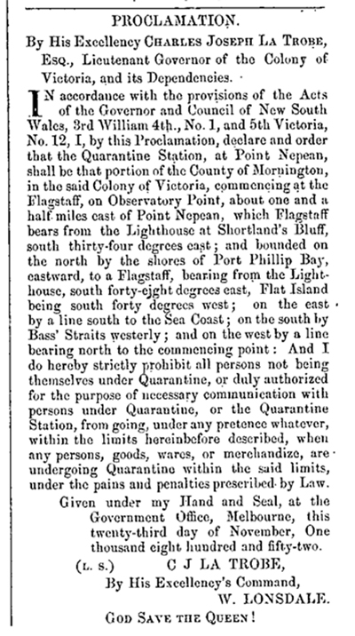 Quarantine Proclamation 23 Nov 1852