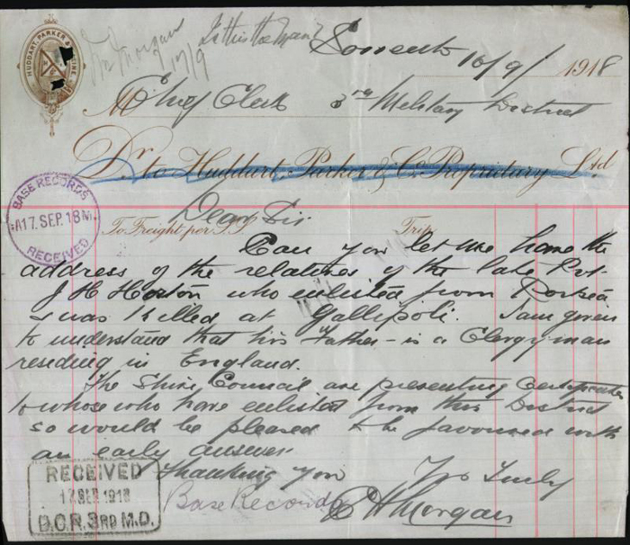 Letter from C.H.Morgan