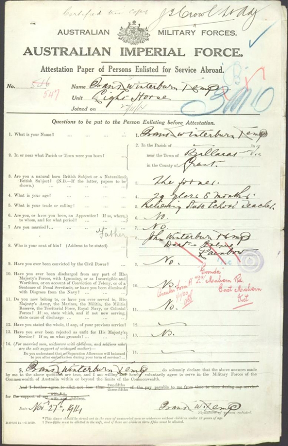 Frank Kemp enlistment