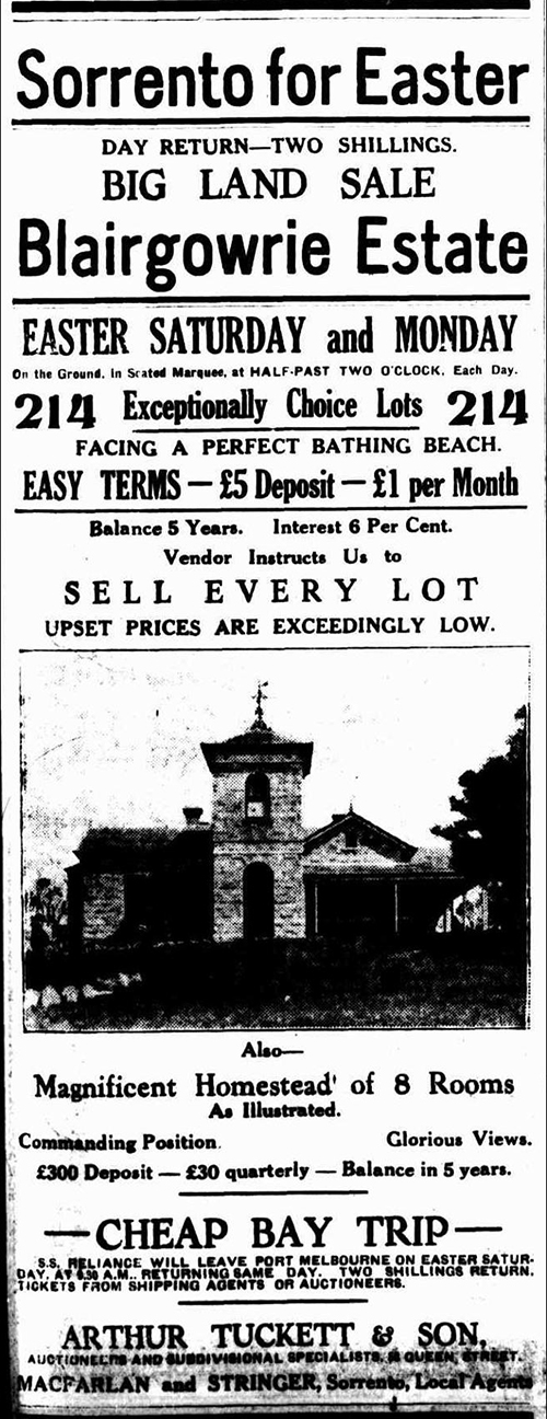 Blairgowrie Estate ad Argus 1923 Mar 28th