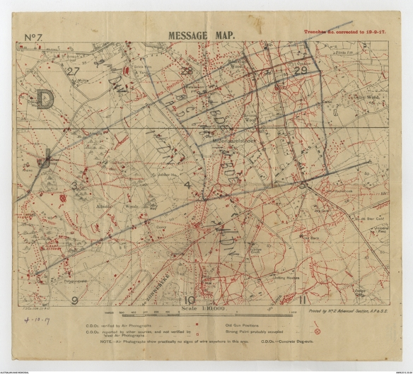 1 ANZAC Corps Message Map 19 Sep 17 AWM 6236466