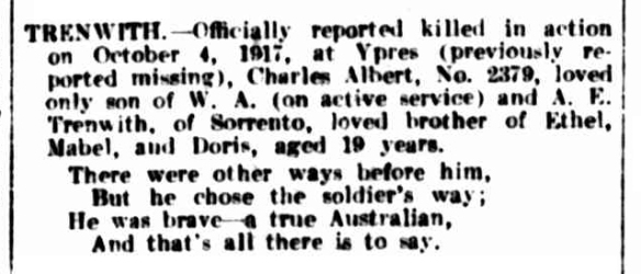 trenwith notice Argus 26 oct 1918
