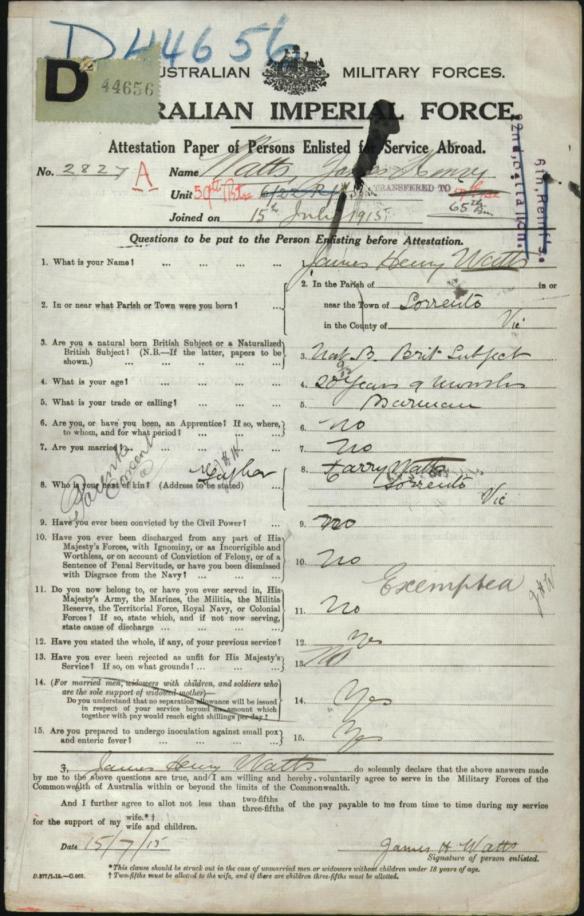 Watts enlistment
