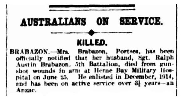 Argus 5 Jul 1918