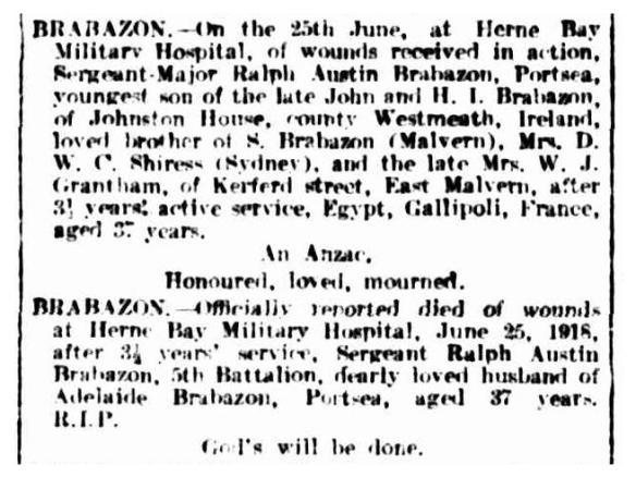 Argus 6 Jul 1918