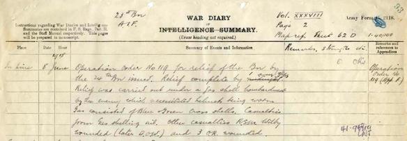 diary 23rd Btn Jun 1918