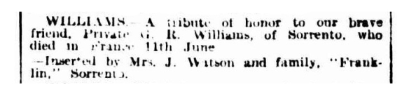 williams notice from mrs j watson